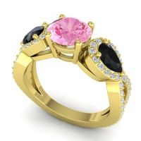 Three Stone Pave Varsa Pink Tourmaline Ring with Black Onyx and Diamond in 14k Yellow Gold