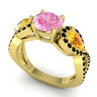 Three Stone Pave Varsa Pink Tourmaline Ring with Citrine and Black Onyx in 14k Yellow Gold