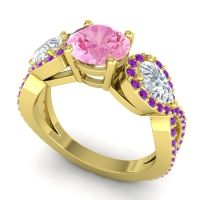 Three Stone Pave Varsa Pink Tourmaline Ring with Diamond and Amethyst in 14k Yellow Gold