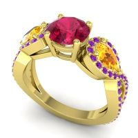 Three Stone Pave Varsa Ruby Ring with Citrine and Amethyst in 14k Yellow Gold