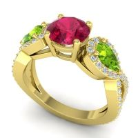 Three Stone Pave Varsa Ruby Ring with Peridot and Diamond in 14k Yellow Gold