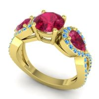 Three Stone Pave Varsa Ruby Ring with Swiss Blue Topaz in 14k Yellow Gold