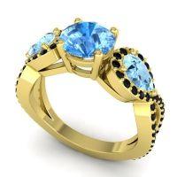 Three Stone Pave Varsa Swiss Blue Topaz Ring with Aquamarine and Black Onyx in 14k Yellow Gold