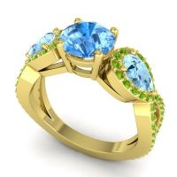 Three Stone Pave Varsa Swiss Blue Topaz Ring with Aquamarine and Peridot in 18k Yellow Gold