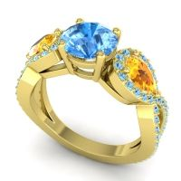Three Stone Pave Varsa Swiss Blue Topaz Ring with Citrine and Aquamarine in 18k Yellow Gold