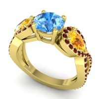 Three Stone Pave Varsa Swiss Blue Topaz Ring with Citrine and Garnet in 14k Yellow Gold