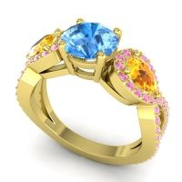 Three Stone Pave Varsa Swiss Blue Topaz Ring with Citrine and Pink Tourmaline in 14k Yellow Gold