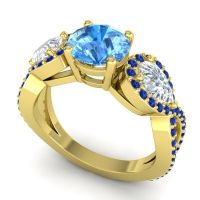 Three Stone Pave Varsa Swiss Blue Topaz Ring with Diamond and Blue Sapphire in 18k Yellow Gold