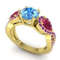 Three Stone Pave Varsa Swiss Blue Topaz Ring with Ruby and Amethyst in 18k Yellow Gold