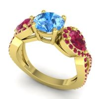 Three Stone Pave Varsa Swiss Blue Topaz Ring with Ruby in 18k Yellow Gold