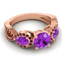 Three Stone Pave Varsa Amethyst Ring with Garnet in 18K Rose Gold