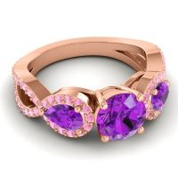 Three Stone Pave Varsa Amethyst Ring with Pink Tourmaline in 14K Rose Gold