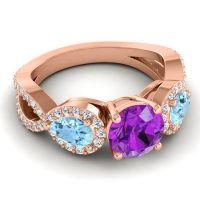 Three Stone Pave Varsa Amethyst Ring with Aquamarine and Diamond in 18K Rose Gold