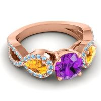 Three Stone Pave Varsa Amethyst Ring with Citrine and Aquamarine in 14K Rose Gold