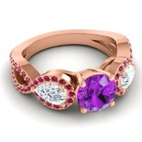 Three Stone Pave Varsa Amethyst Ring with Diamond and Ruby in 18K Rose Gold