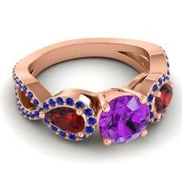 Three Stone Pave Varsa Amethyst Ring with Garnet and Blue Sapphire in 18K Rose Gold