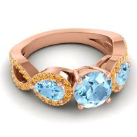 Three Stone Pave Varsa Aquamarine Ring with Citrine in 14K Rose Gold