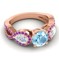 Three Stone Pave Varsa Aquamarine Ring with Diamond and Amethyst in 18K Rose Gold