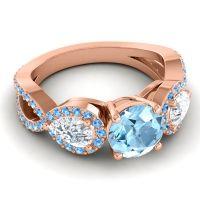 Three Stone Pave Varsa Aquamarine Ring with Diamond and Swiss Blue Topaz in 18K Rose Gold