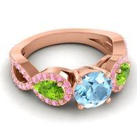 Three Stone Pave Varsa Aquamarine Ring with Peridot and Pink Tourmaline in 18K Rose Gold
