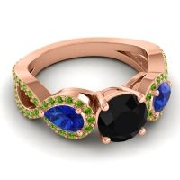 Three Stone Pave Varsa Black Onyx Ring with Blue Sapphire and Peridot in 18K Rose Gold