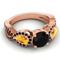 Black Onyx Three Stone Pave Varsa Ring with Citrine in 14K Rose Gold