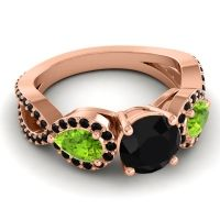 Three Stone Pave Varsa Black Onyx Ring with Peridot in 14K Rose Gold