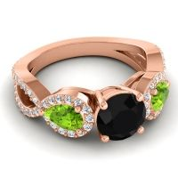 Three Stone Pave Varsa Black Onyx Ring with Peridot and Diamond in 14K Rose Gold