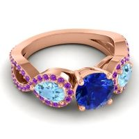 Three Stone Pave Varsa Blue Sapphire Ring with Aquamarine and Amethyst in 14K Rose Gold