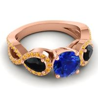 Three Stone Pave Varsa Blue Sapphire Ring with Black Onyx and Citrine in 14K Rose Gold
