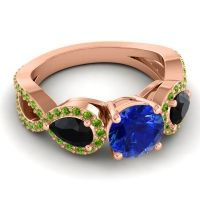 Three Stone Pave Varsa Blue Sapphire Ring with Black Onyx and Peridot in 18K Rose Gold