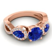 Three Stone Pave Varsa Blue Sapphire Ring with Diamond in 14K Rose Gold
