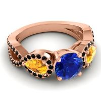 Three Stone Pave Varsa Blue Sapphire Ring with Citrine and Black Onyx in 14K Rose Gold
