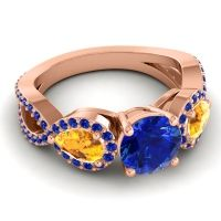 Three Stone Pave Varsa Blue Sapphire Ring with Citrine in 18K Rose Gold