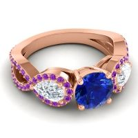 Three Stone Pave Varsa Blue Sapphire Ring with Diamond and Amethyst in 14K Rose Gold