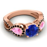 Three Stone Pave Varsa Blue Sapphire Ring with Pink Tourmaline and Black Onyx in 14K Rose Gold