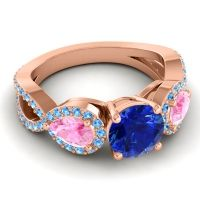 Three Stone Pave Varsa Blue Sapphire Ring with Pink Tourmaline and Swiss Blue Topaz in 14K Rose Gold