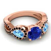 Three Stone Pave Varsa Blue Sapphire Ring with Swiss Blue Topaz and Black Onyx in 18K Rose Gold