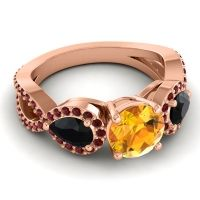 Three Stone Pave Varsa Citrine Ring with Black Onyx and Garnet in 18K Rose Gold