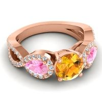 Three Stone Pave Varsa Citrine Ring with Pink Tourmaline and Diamond in 18K Rose Gold
