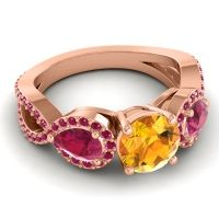 Three Stone Pave Varsa Citrine Ring with Ruby in 14K Rose Gold