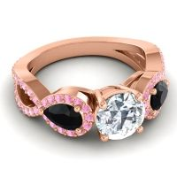 Three Stone Pave Varsa Diamond Ring with Black Onyx and Pink Tourmaline in 14K Rose Gold