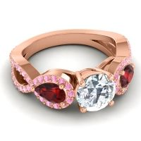 Three Stone Pave Varsa Diamond Ring with Garnet and Pink Tourmaline in 14K Rose Gold