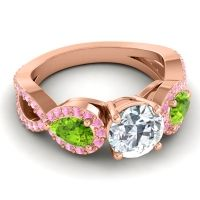 Three Stone Pave Varsa Diamond Ring with Peridot and Pink Tourmaline in 14K Rose Gold