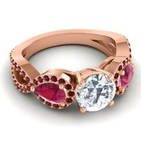 Three Stone Pave Varsa Diamond Ring with Ruby and Garnet in 18K Rose Gold