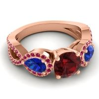 Three Stone Pave Varsa Garnet Ring with Blue Sapphire and Ruby in 18K Rose Gold