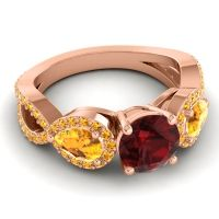 Three Stone Pave Varsa Garnet Ring with Citrine in 14K Rose Gold