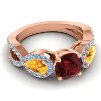Three Stone Pave Varsa Garnet Ring with Citrine and Swiss Blue Topaz in 18K Rose Gold