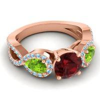 Three Stone Pave Varsa Garnet Ring with Peridot and Aquamarine in 18K Rose Gold