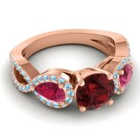 Three Stone Pave Varsa Garnet Ring with Ruby and Aquamarine in 14K Rose Gold